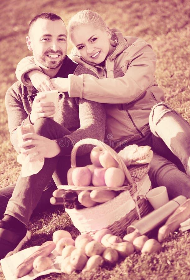 Houdend van prettig paar die zoals hebbend picknick babbelen stock afbeeldingen