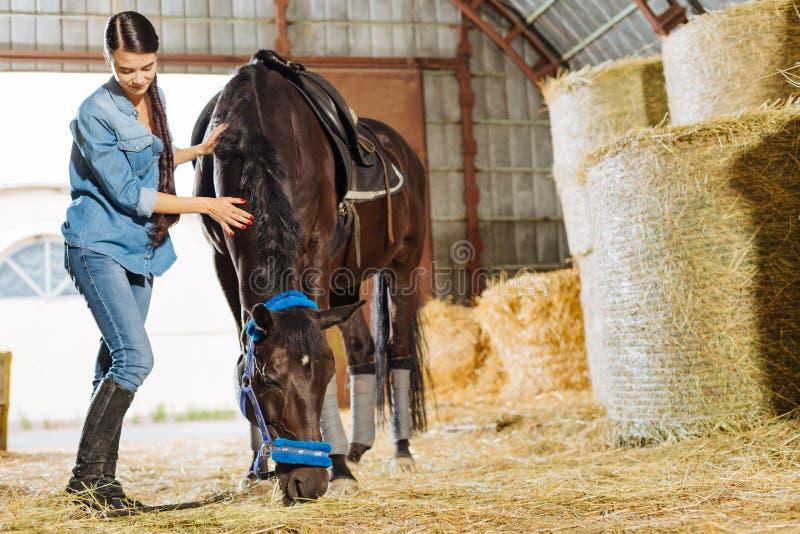 Houdend van vrouwelijke ruiter komst aan stal voor het bezoeken van haar donker paard royalty-vrije stock fotografie