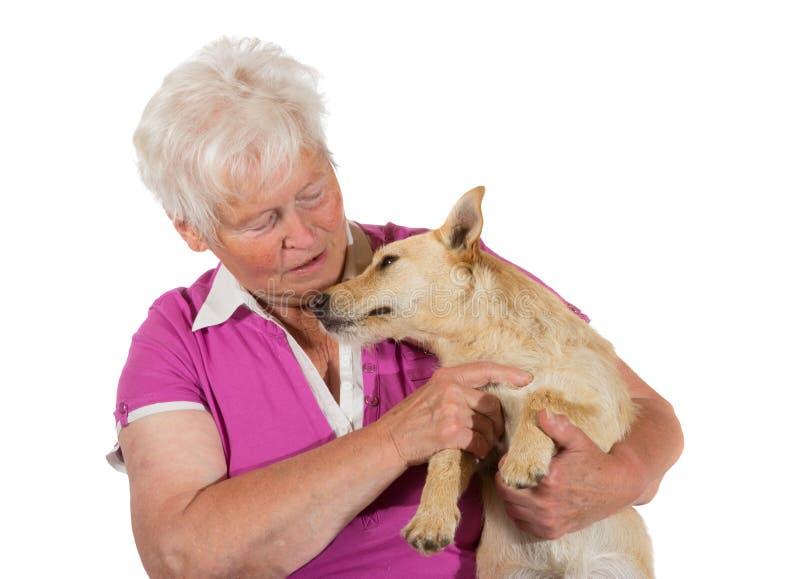 Houdende van bejaarde met haar hond stock afbeelding