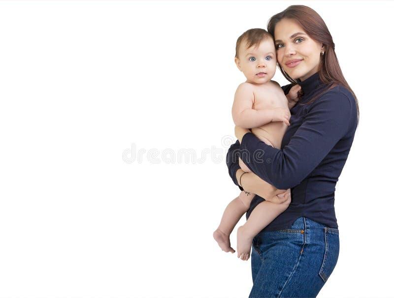 Houdende van moeder en haar babymeisje stock foto's