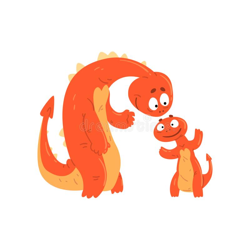 Houdende van moederdraak en haar baby, leuke grappige familie van mythische de karakters vectorillustratie van het dierenbeeldver royalty-vrije illustratie