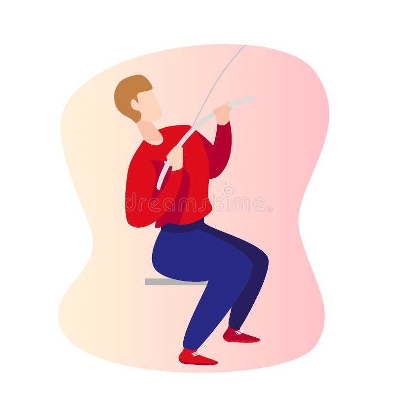Houding van de mensen de verkeerde en juiste lat trekkracht neer - oefeningsgymnastiek Geschiktheidspulldown illustratie vector illustratie