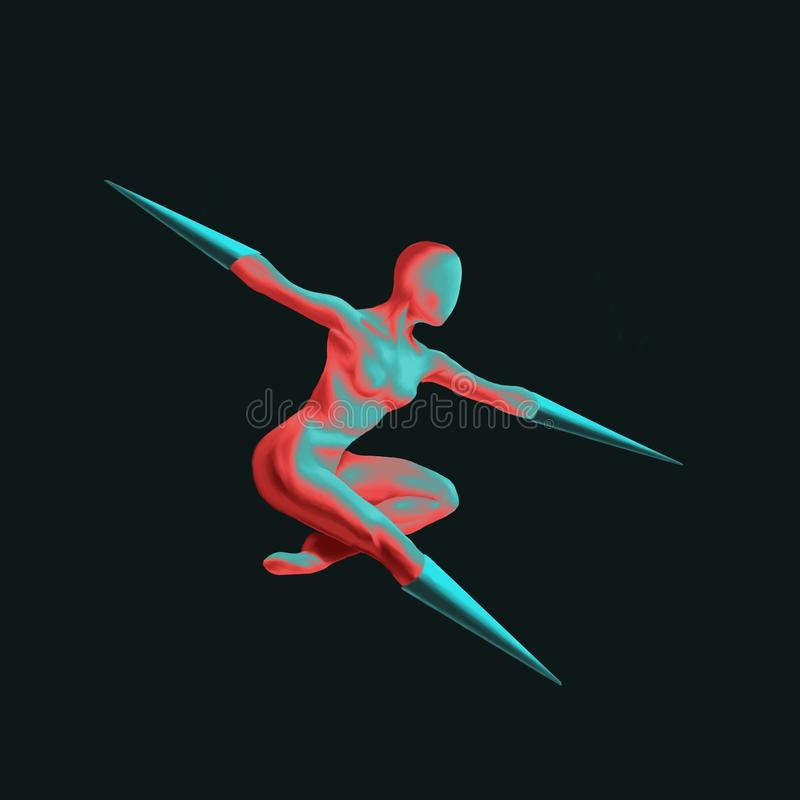 Houding van een eigentijdse danschoreografie door een gehandicapte danser royalty-vrije illustratie