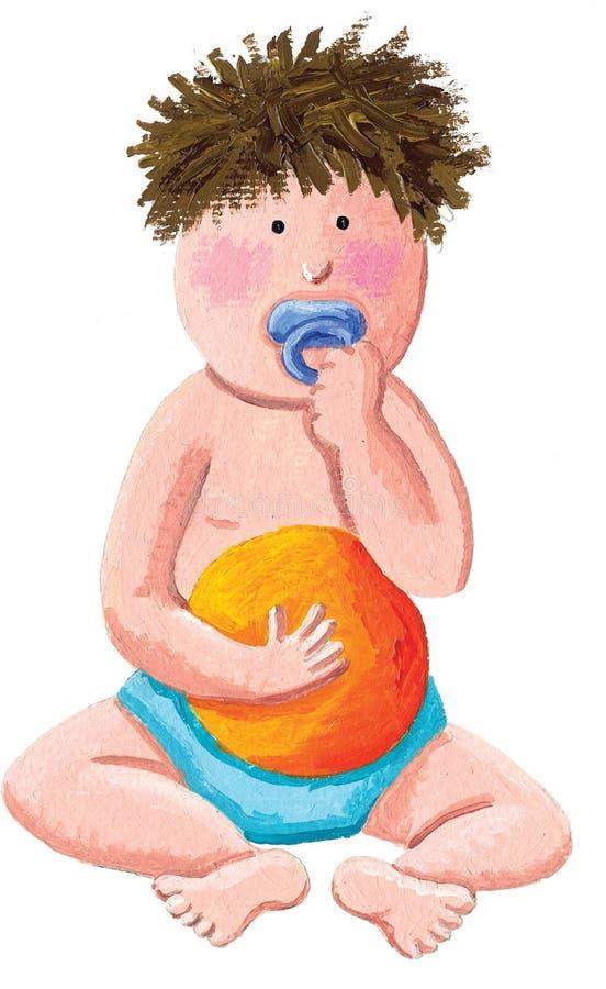 Houdt de een weinig doen schrikken jongen een oranje bal royalty-vrije illustratie