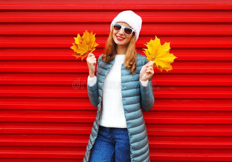 Houdt de glimlachende vrouw van de manierherfst gele esdoornbladeren in handen royalty-vrije stock foto's