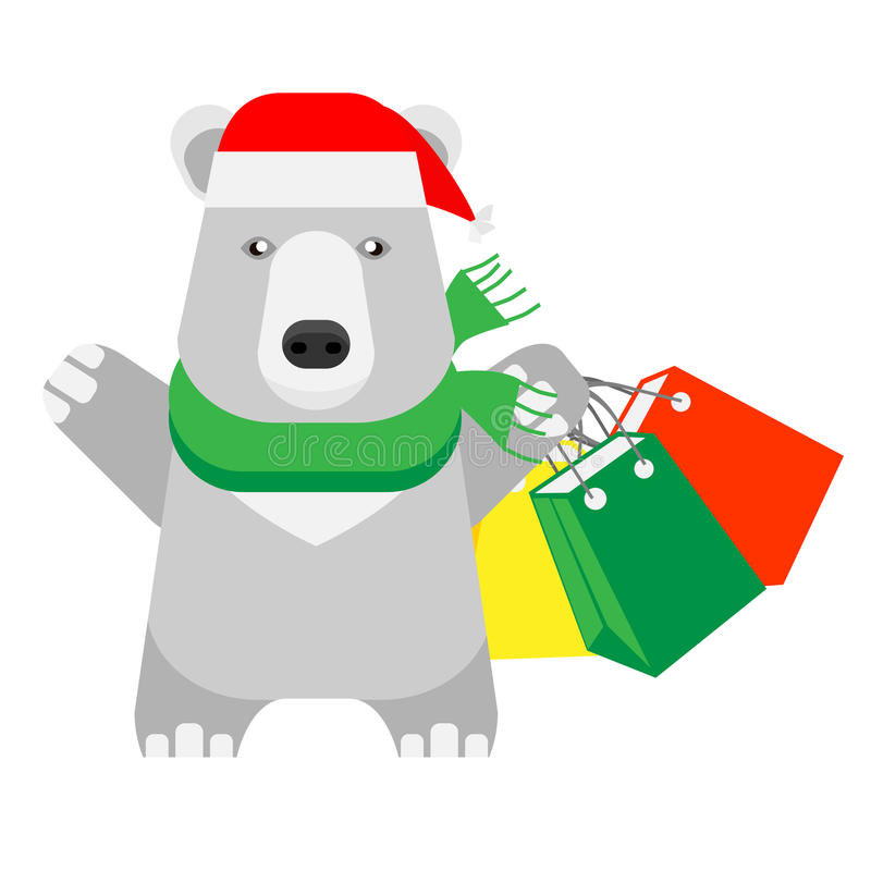 Houdt de Kerstmis ijsbeer het winkelen zakken stock illustratie