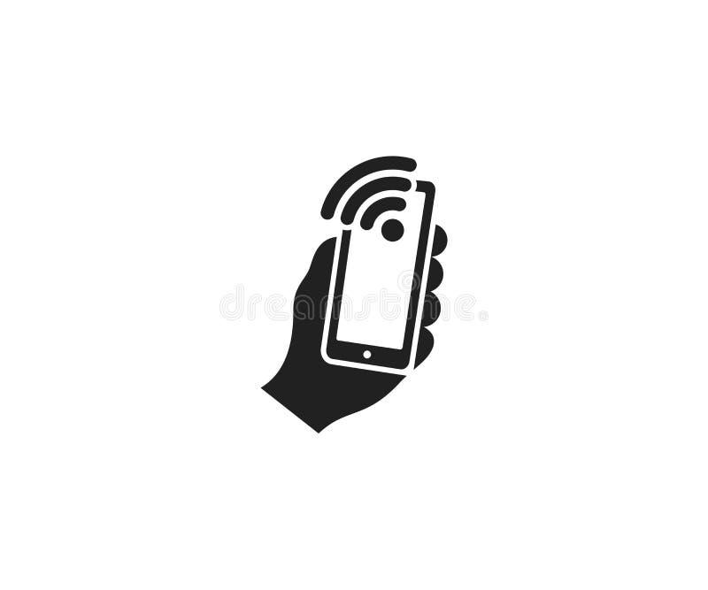 Houdt een smartphone en een het embleemmalplaatje van tekenwifi Mobiele telefoononderzoek en verbinding van een wifi vectorontwer vector illustratie