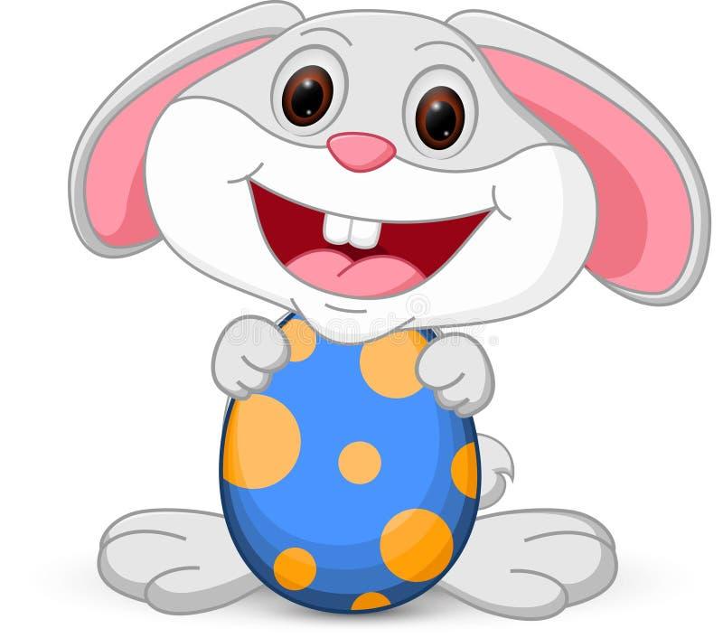 Houdt het leuke konijntje van Pasen ei vector illustratie