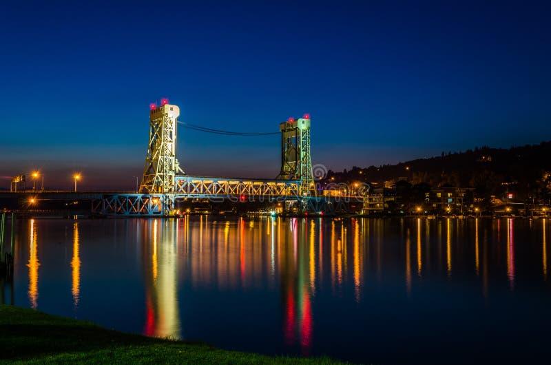 Houghton-Hancock-Brücke nach Sonnenuntergang stockbild