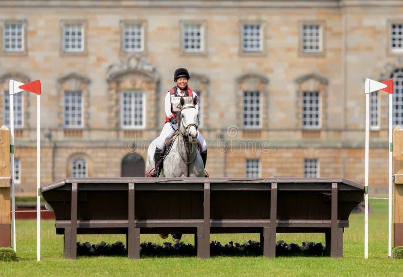 Houghton international horse trials Alexia Schwarz riding Lecklin Champeix. HOUGHTON, NORFOLK/ENGLAND - May 25th 2017: Houghton International Horse Trials 2017 stock images