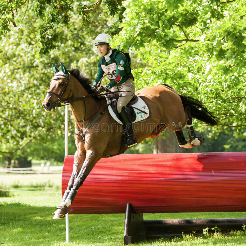 Houghton international horse trials Aoife Clark riding Colorfast. HOUGHTON, NORFOLK/ENGLAND - May 25th 2017: Houghton International Horse Trials 2017 Aoife Clark royalty free stock image