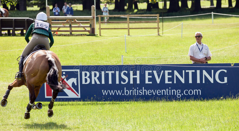 Houghton international horse trials Aoife Clark riding Colorfast. HOUGHTON, NORFOLK/ENGLAND - May 25th 2017: Houghton International Horse Trials 2017 Aoife Clark stock photography