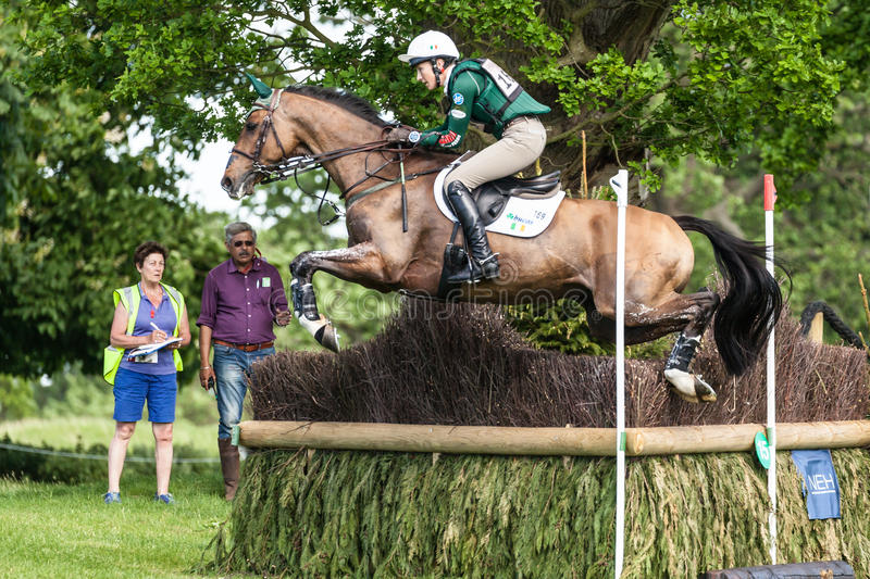 Houghton international horse trials Aoife Clark riding Colorfast. HOUGHTON, NORFOLK/ENGLAND - May 25th 2017: Houghton International Horse Trials 2017 Aoife Clark royalty free stock photo