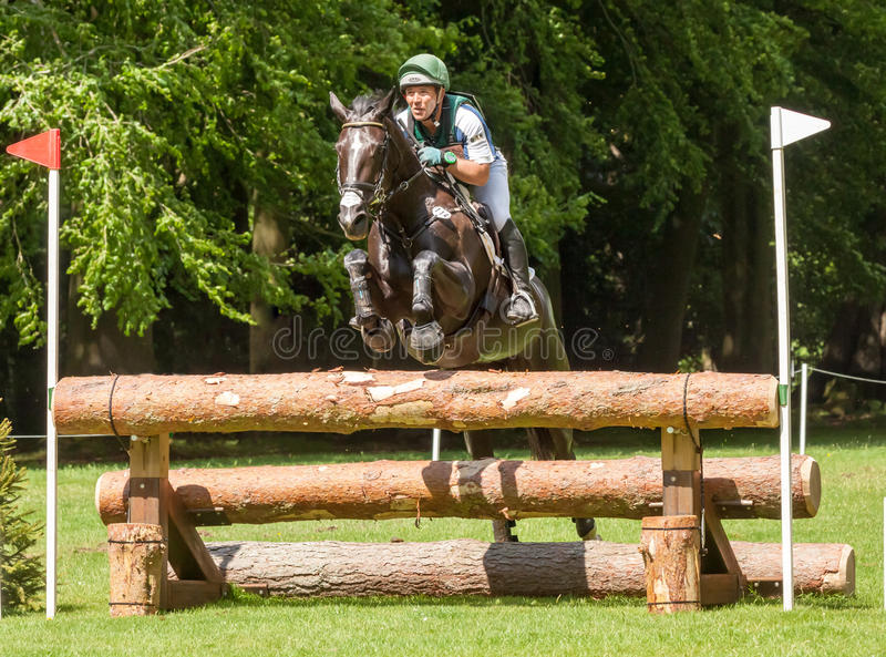 Houghton international horse trials Austin Oconner riding Billy. HOUGHTON, NORFOLK/ENGLAND - May 25th 2017: Houghton International Horse Trials 2017 Austin royalty free stock photography