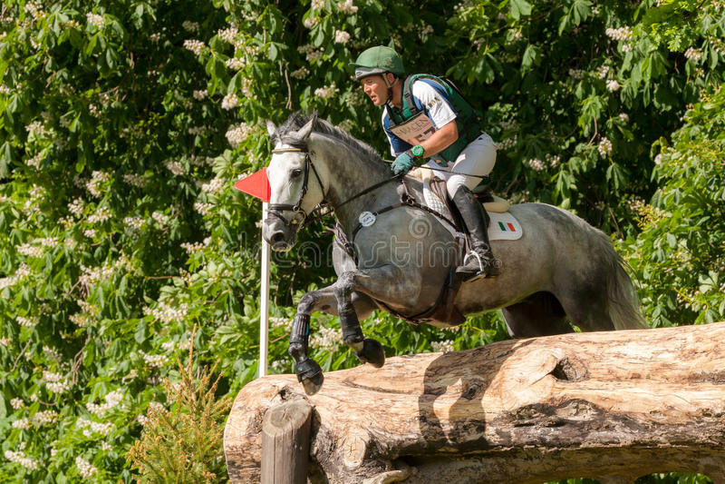 Houghton international horse trials Austin OConner riding Colorado Blue. HOUGHTON, NORFOLK/ENGLAND - May 25th 2017: Houghton International Horse Trials 2017 stock image