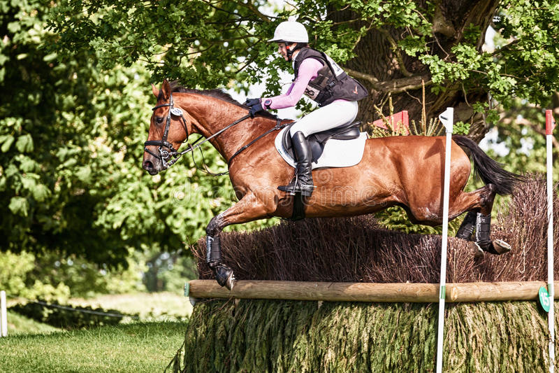 Houghton international horse trials Becky Woolven riding Dhi Babette K. HOUGHTON, NORFOLK/ENGLAND - May 25th 2017: Houghton International Horse Trials 2017 Becky stock photo