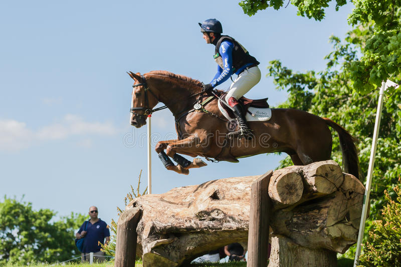 Houghton international horse trials Ben Way riding Croisiere. HOUGHTON, NORFOLK/ENGLAND - May 25th 2017: Houghton International Horse Trials 2017 Ben Way riding royalty free stock images