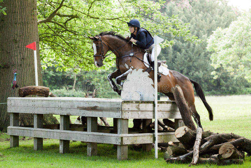 Houghton international horse trials Courtney romcke riding Destino Bello. HOUGHTON, NORFOLK/ENGLAND - May 25th 2017: Houghton International Horse Trials 2017 stock photos