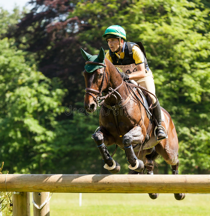 Houghton international horse trials Gabriel Cury riding Phineas. HOUGHTON, NORFOLK/ENGLAND - May 25th 2017: Houghton International Horse Trials 2017 Gabriel Cury royalty free stock images