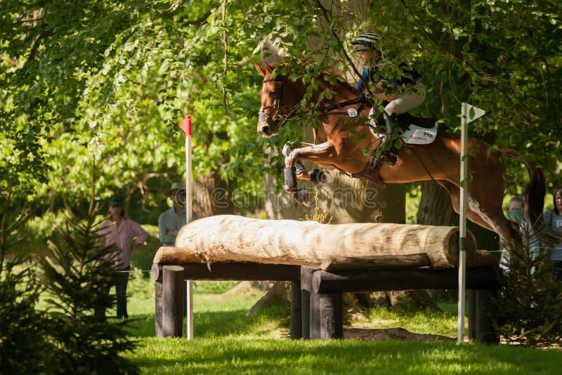 Houghton international horse trials Georgie Norton riding Design. HOUGHTON, NORFOLK/ENGLAND - May 25th 2017: Houghton International Horse Trials 2017 Georgie royalty free stock photos