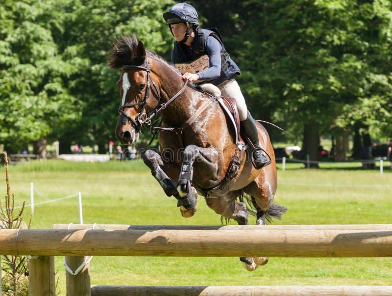 Houghton international horse trials Indiana Limpus riding Bronze. HOUGHTON, NORFOLK/ENGLAND - May 25th 2017: Houghton International Horse Trials 2017 Indiana stock image