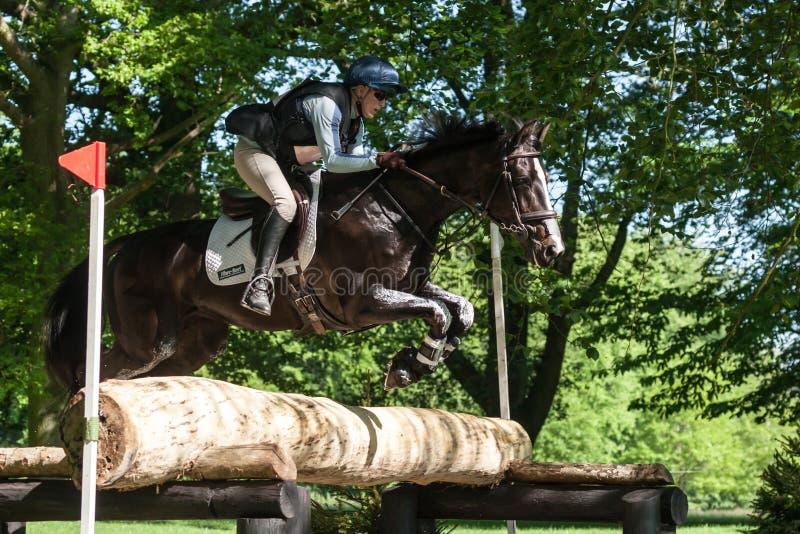 Houghton international horse trials Izzy Laurence riding Whitney. HOUGHTON, NORFOLK/ENGLAND - May 25th 2017: Houghton International Horse Trials 2017 Izzy stock image