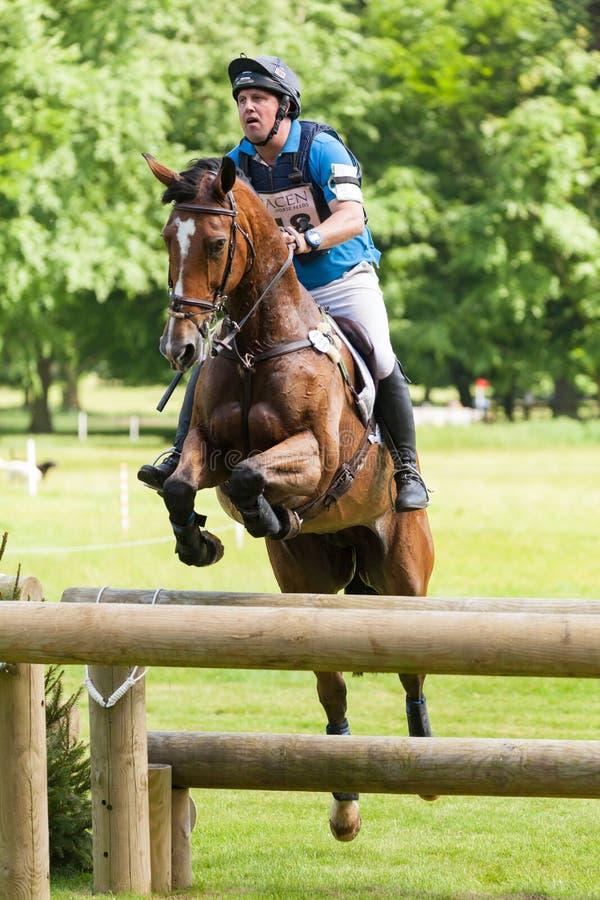 Houghton international horse trials Matthew Wright riding Zoe. HOUGHTON, NORFOLK/ENGLAND - May 25th 2017: Houghton International Horse Trials 2017 Matthew Wright stock image