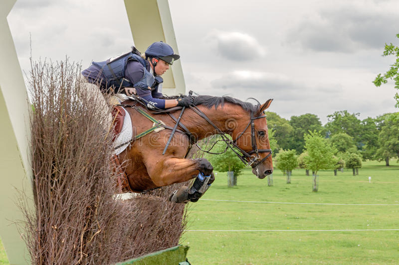 Houghton international horse trials May 2017. HOUGHTON, NORFOLK/ENGLAND - May 28th 2017: Houghton International Horse Trials 2017 Jessica Mckie riding Ask the stock photo