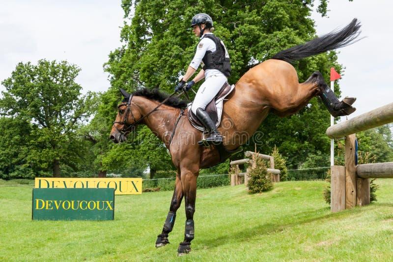 Houghton international horse trials May 2017. HOUGHTON, NORFOLK/ENGLAND - May 28th 2017: Houghton International Horse Trials 2017 Julia Krajewski riding Samourai stock photo