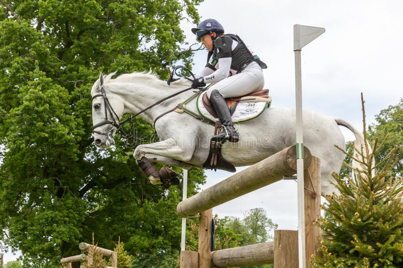 Houghton international horse trials May 2017. HOUGHTON, NORFOLK/ENGLAND - May 28th 2017: Houghton International Horse Trials 2017 Pippa Funnell riding Billy The royalty free stock images