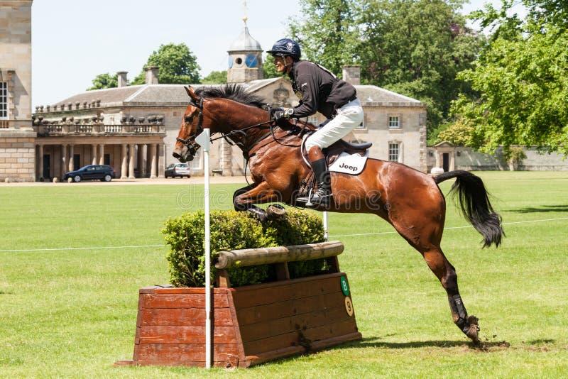 Houghton international horse trials May William Fox-Pitt riding. HOUGHTON, NORFOLK/ENGLAND - May 25th 2017: Houghton International Horse Trials 2017 William Fox stock image