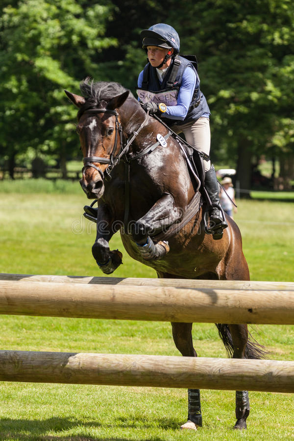 Houghton international horse trials Rosalind Canter riding Pencos Crown Jewel. HOUGHTON, NORFOLK/ENGLAND - May 25th 2017: Houghton International Horse Trials royalty free stock image