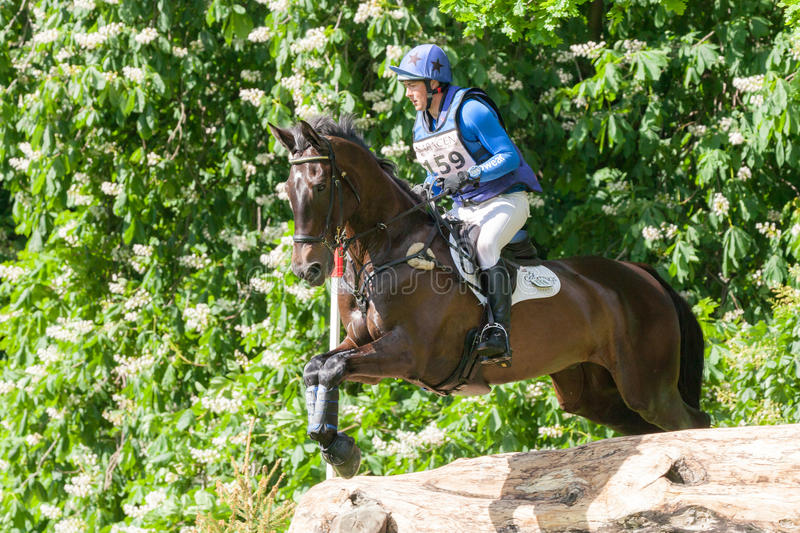 Houghton international horse trials Tim Cheffings. HOUGHTON, NORFOLK/ENGLAND - May 25th 2017: Houghton International Horse Trials 2017 Tim Cheffings riding Dante royalty free stock photos