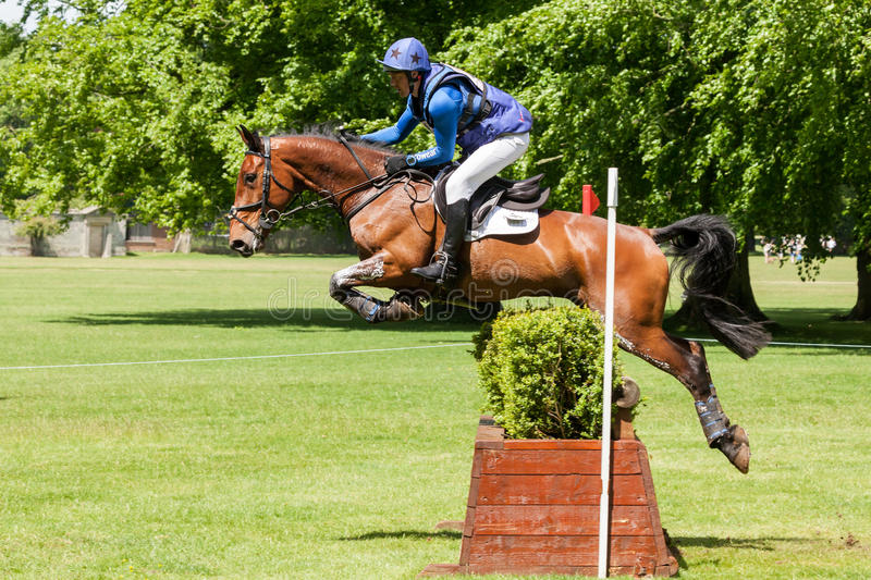 Houghton international horse trials Tim Cheffings riding Jazz Ma. HOUGHTON, NORFOLK/ENGLAND - May 25th 2017: Houghton International Horse Trials 2017 Tim royalty free stock photography
