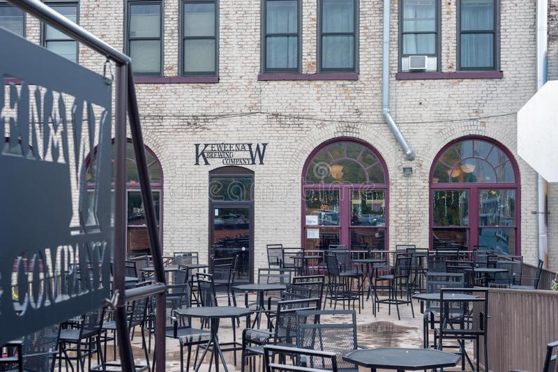 Houghton, MI/USA - 10-06-2018: Keweenaw Brewing Company outdoor patio. Houghton, MI/USA - 10-06-2018: Keweenaw Brewing Company outdoor seating area along the stock images