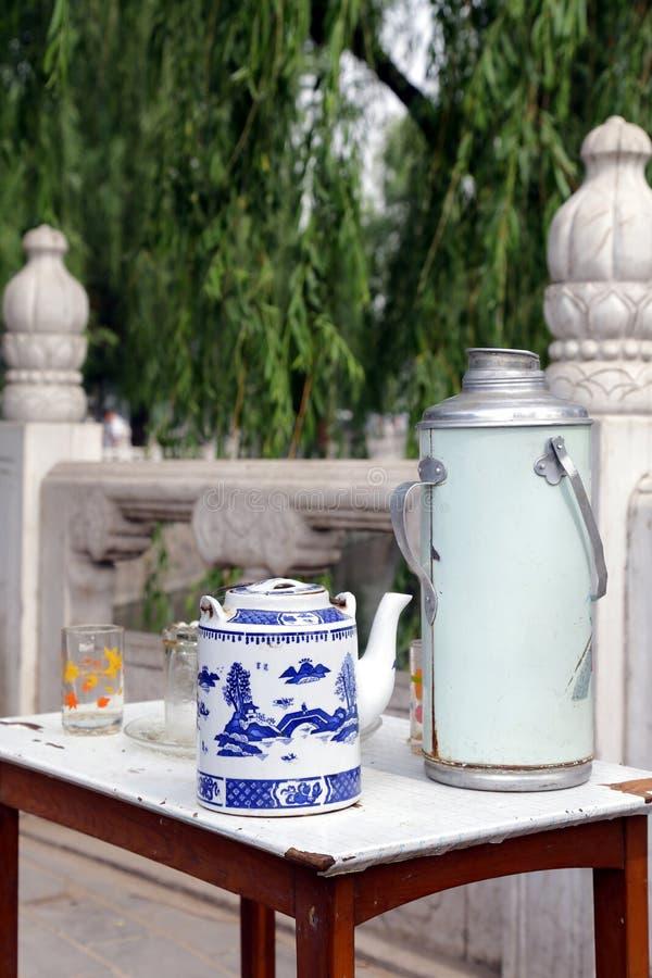 houhai beijing roadside tea table royalty free stock images