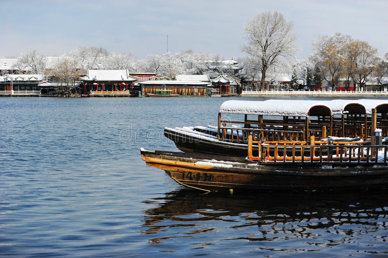 Download Houhai lake after snow stock photo. Image of store, center - 34302620