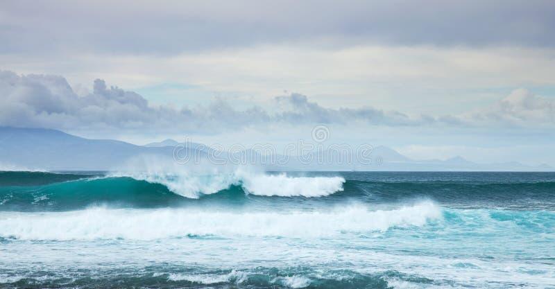 Houle de mer par le rivage nordique de Fuerteventura images libres de droits