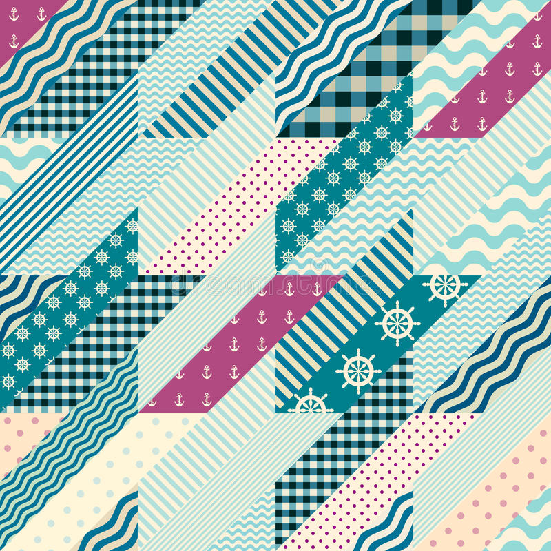 Hounds-tooth patchwork pattern. Seamless background pattern. Hounds-tooth pattern in a patchwork and nautical style vector illustration