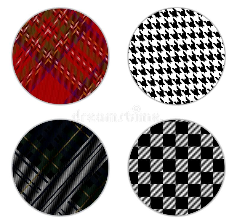 Hounds-tooth pattern, tartan pattern, Black Watch military tartan , Vichy pattern cage white and black colors in a circle. Pattern royalty free illustration