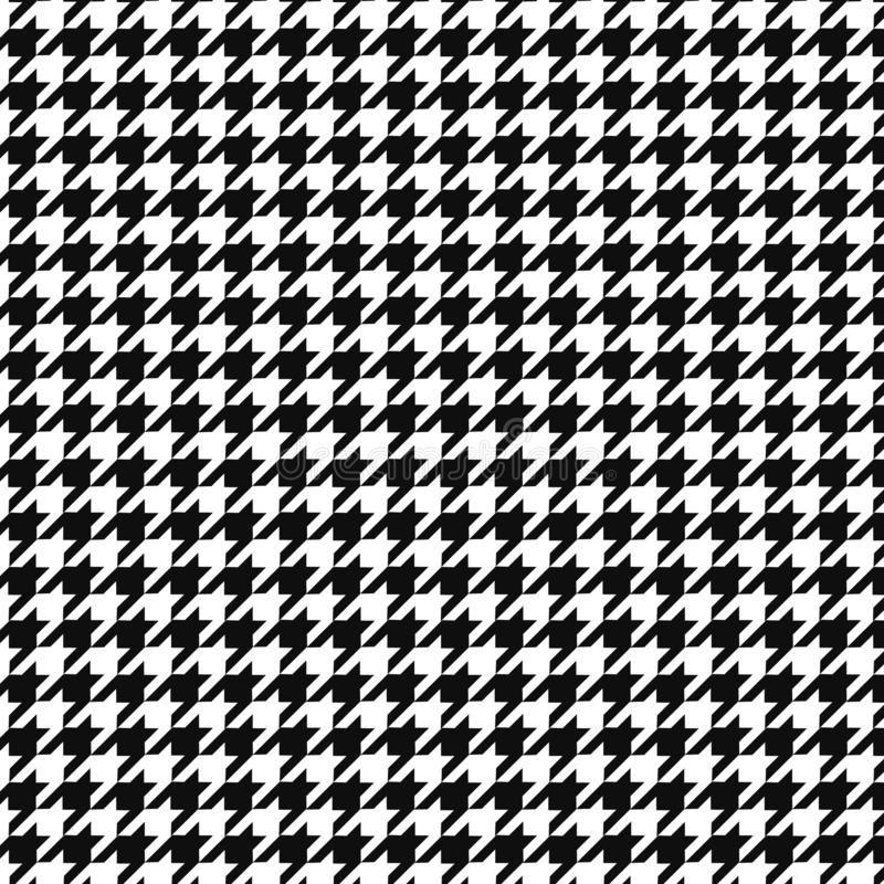 Hounds tooth vector pattern ornament. Geometric print in black and white color. Classical English background Glen plaid for fashi royalty free illustration