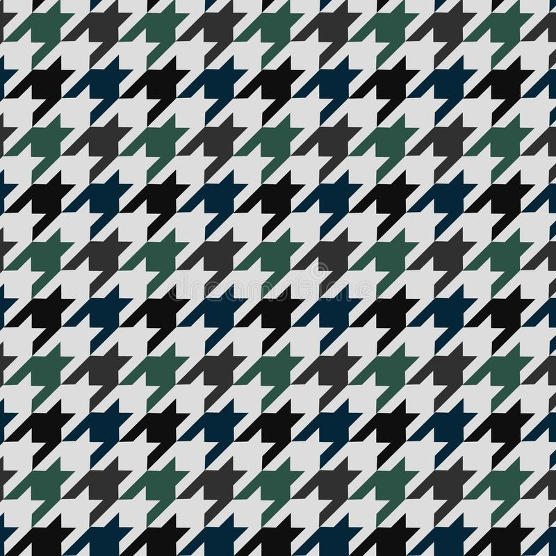 Hounds tooth vector pattern ornament. Geometric print in green and blue color on white background. Classical English background Gl vector illustration