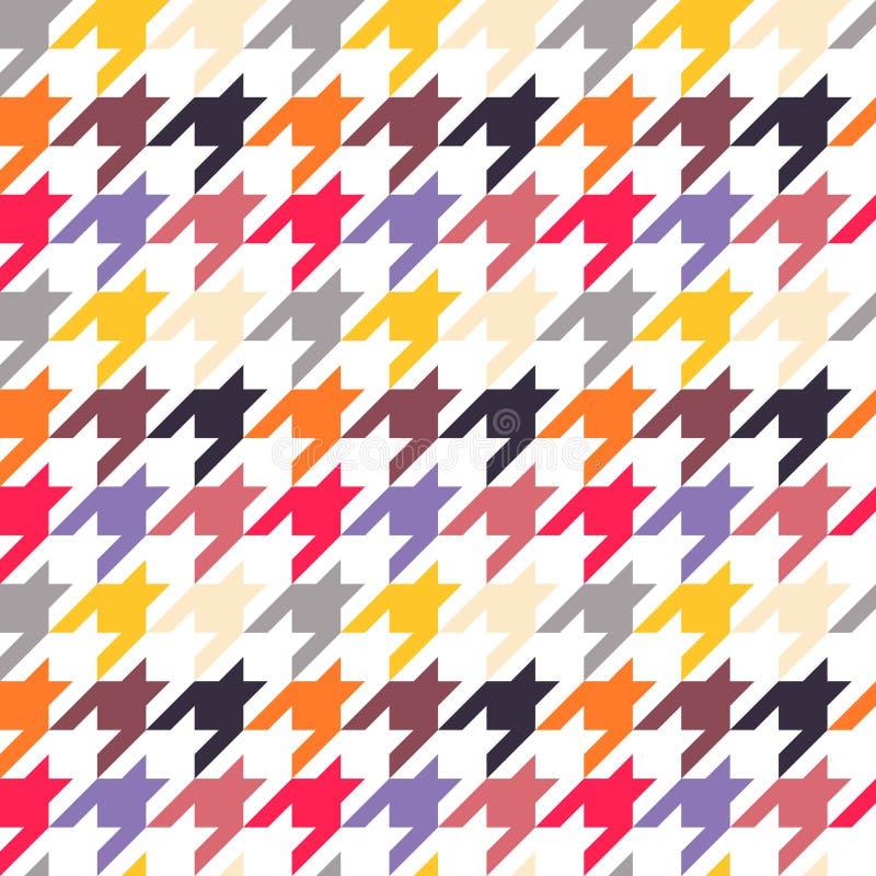 Houndstooth无缝的样式,五颜六色 向量例证