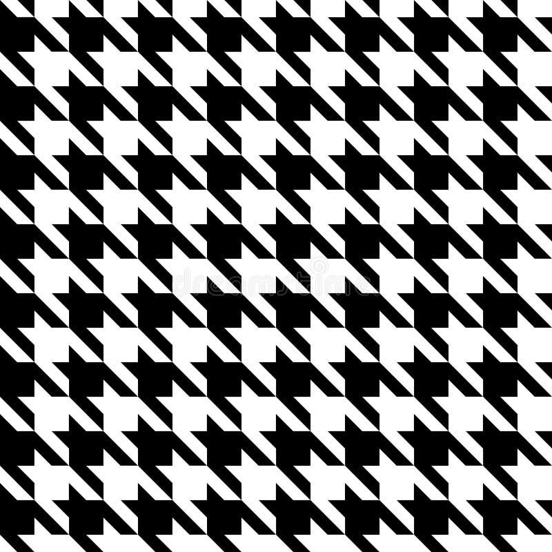 Houndstooth检查黑&白色织品样式纹理 皇族释放例证