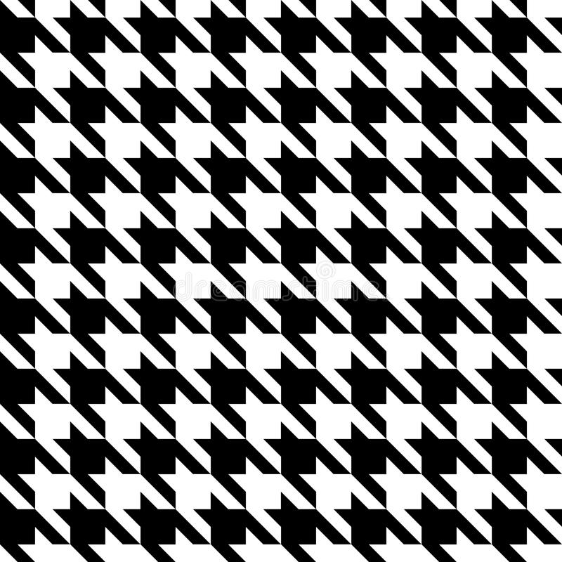 Houndstooth Check Black & White Fabric Pattern Texture.  royalty free illustration