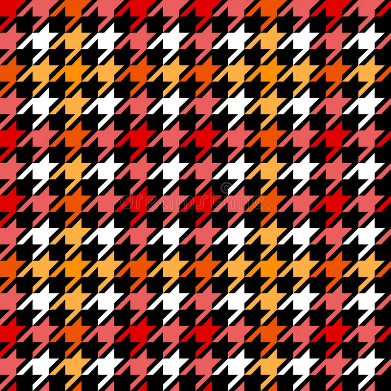 Houndstooth checkered seamless pattern in red yellow black and white, vector. Background vector illustration