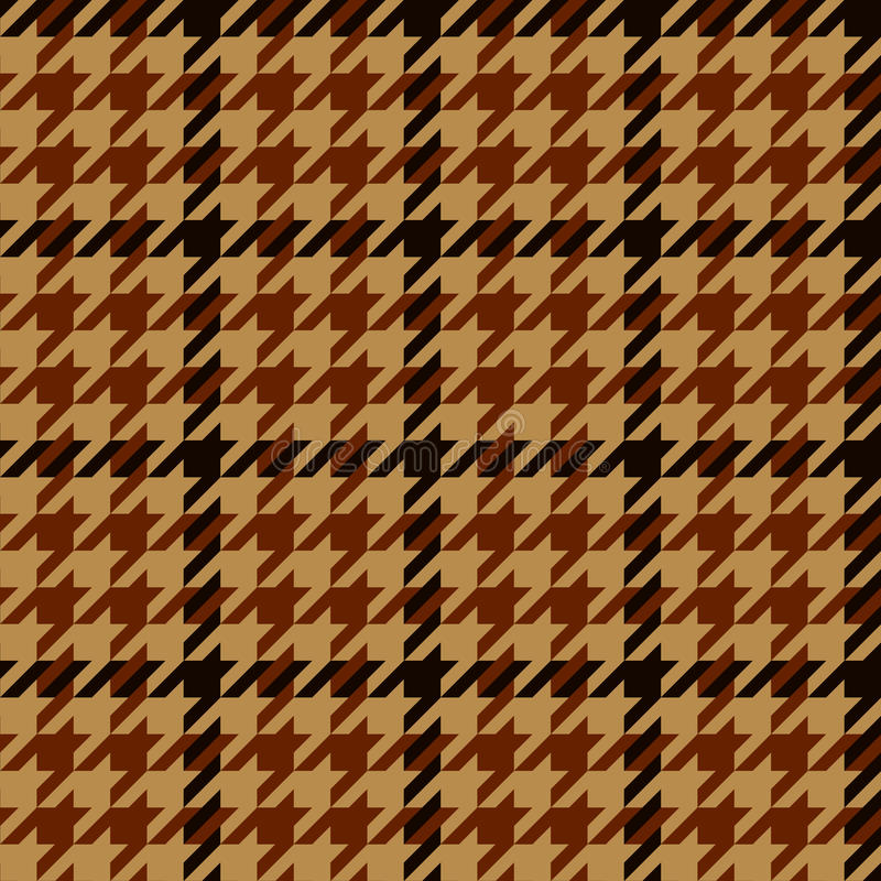 Houndstooth geometric plaid seamless pattern in brown and beige, vector stock illustration