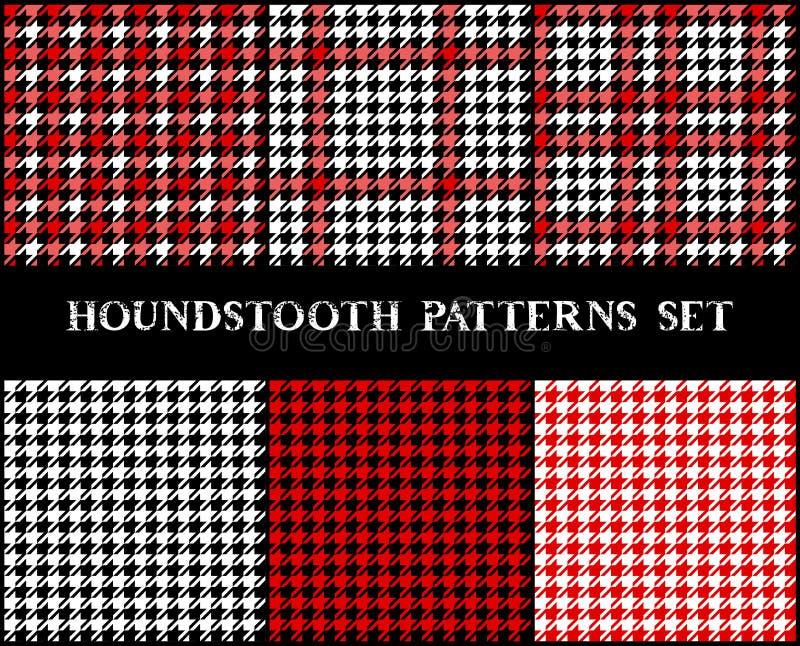 Houndstooth geruite naadloze die patronen in rode zwart-wit, vector worden geplaatst royalty-vrije illustratie