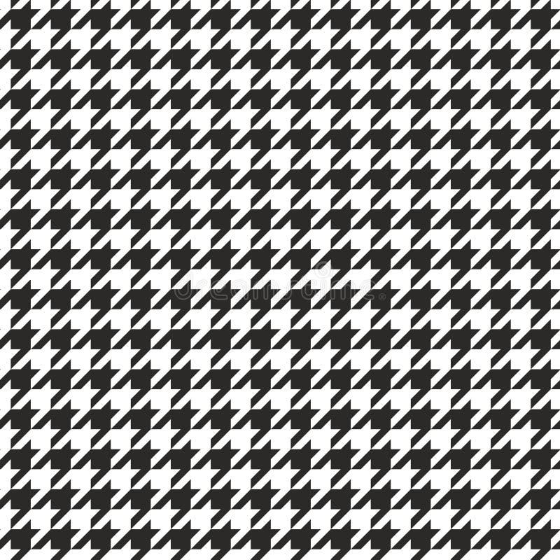Houndstooth naadloze vector zwart-witte patroon of tegelachtergrond stock illustratie