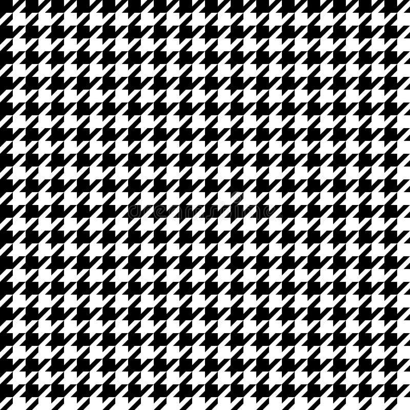 Houndstooth nahtloses Muster Schwarzweiss-Vektorzusammenfassungshintergrund lizenzfreie abbildung